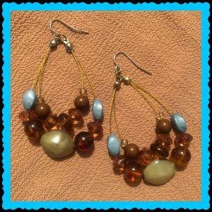 Blue, Green, & Brown Earrings